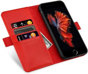 Coque iPhone 6 Plus en cuir rouge